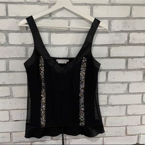 To The Max black silk tank with sequins